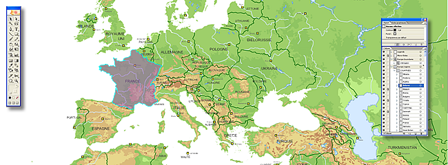 carte vectorielle du relief d'Europe
