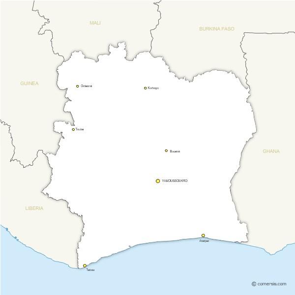gratuite  de Côte d'Ivoire avec principales villes