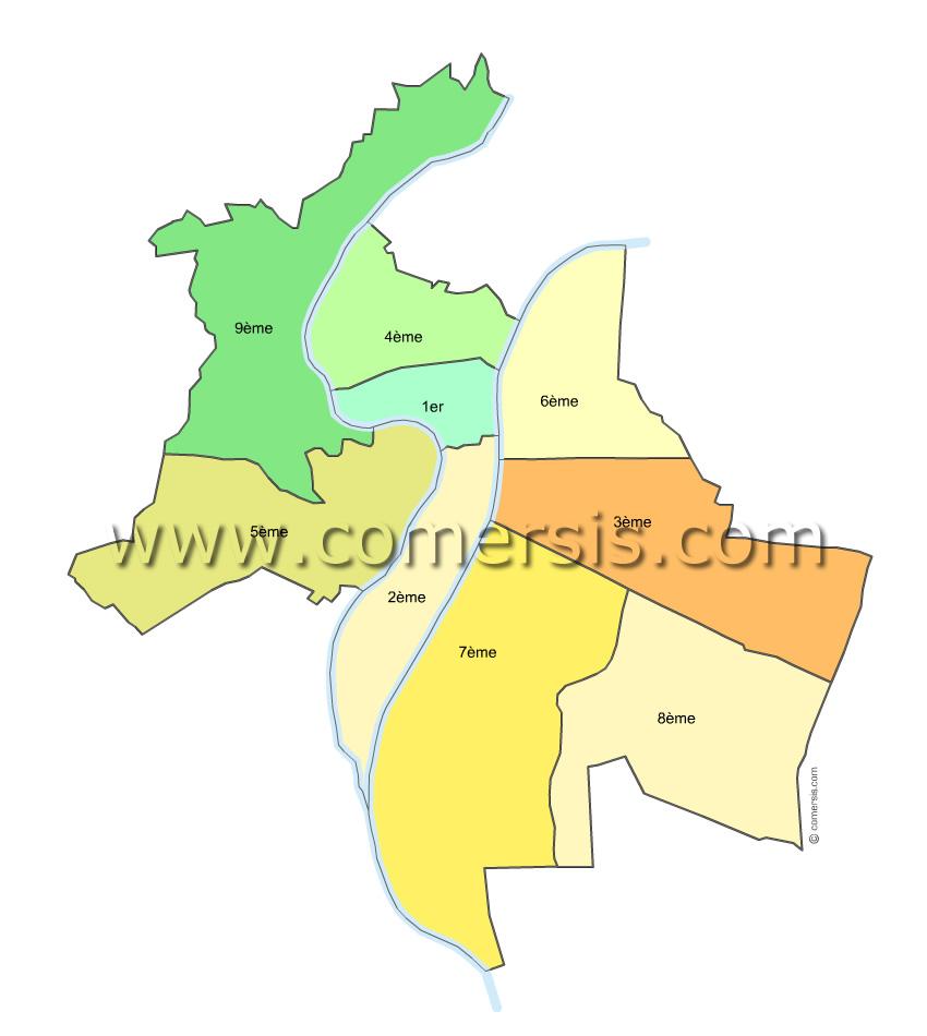 Plan des arrondissements de Lyon