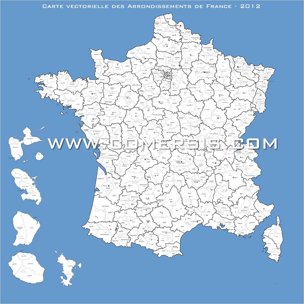 Carte des arrondissements de France