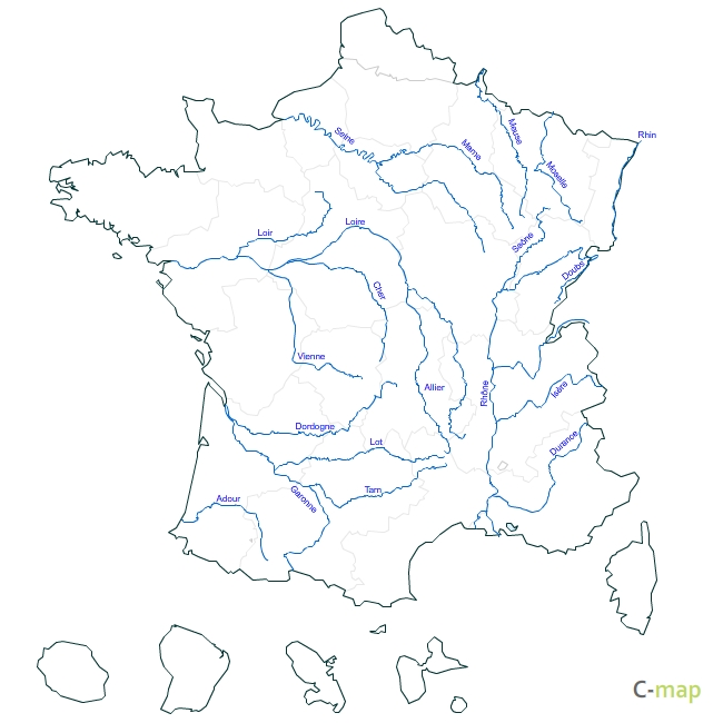 Carte de France: Carte de france fleuves