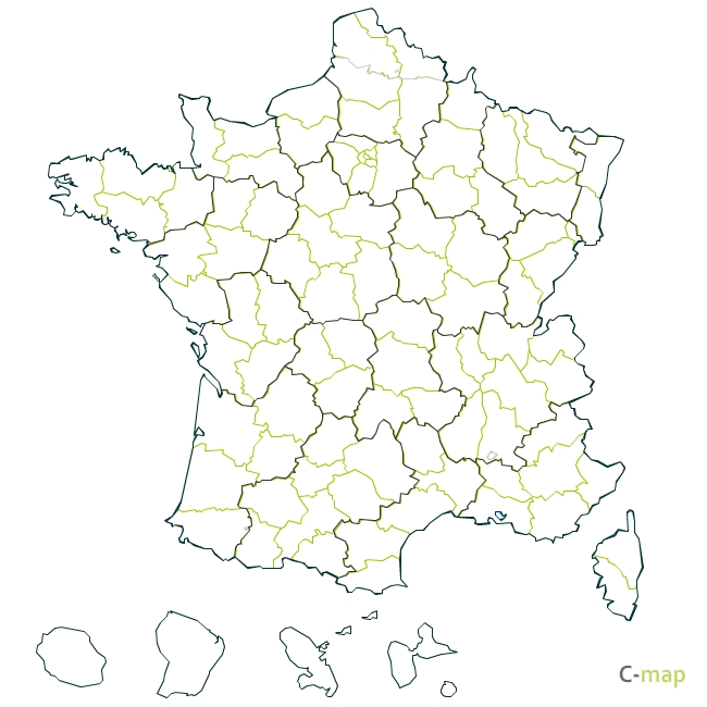 Carte de France par regions et départements
