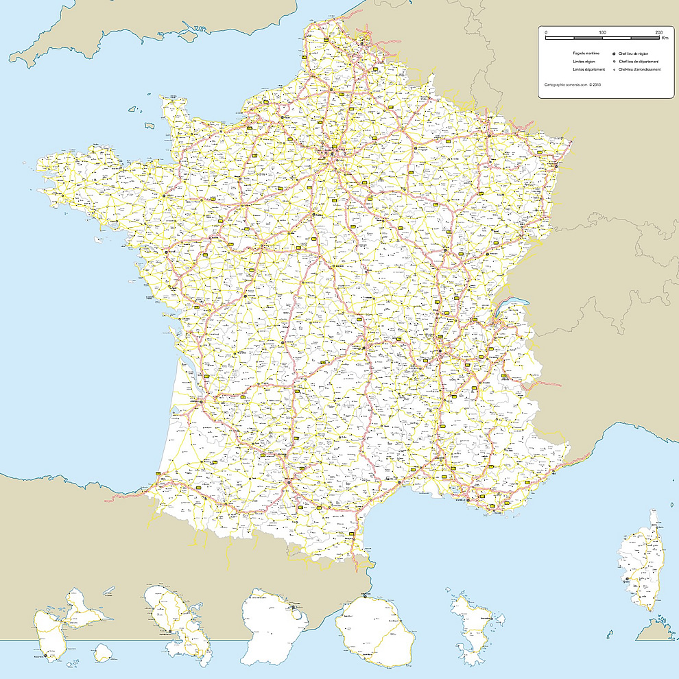 Map of France road networks High Definition – Road Map Definition