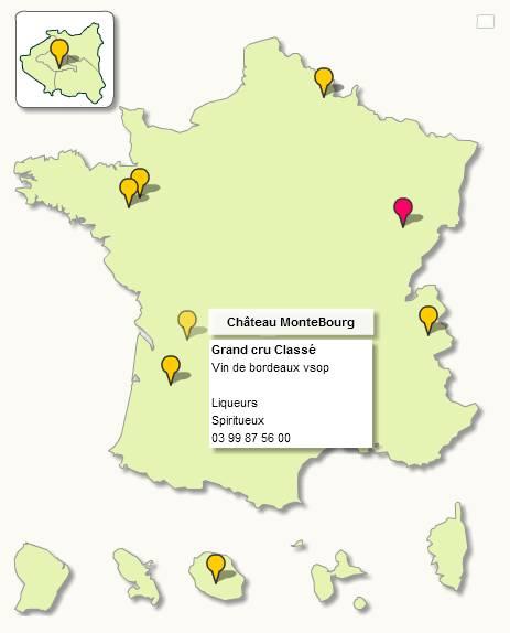 France avec points de localisation cliquables