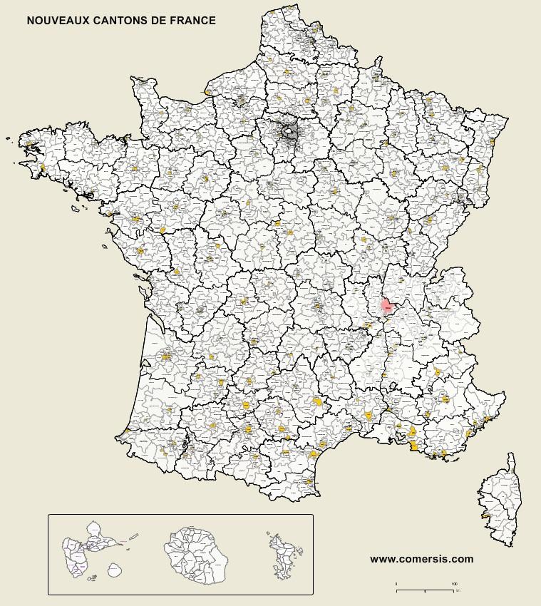 Carte des nouveaux cantons de France