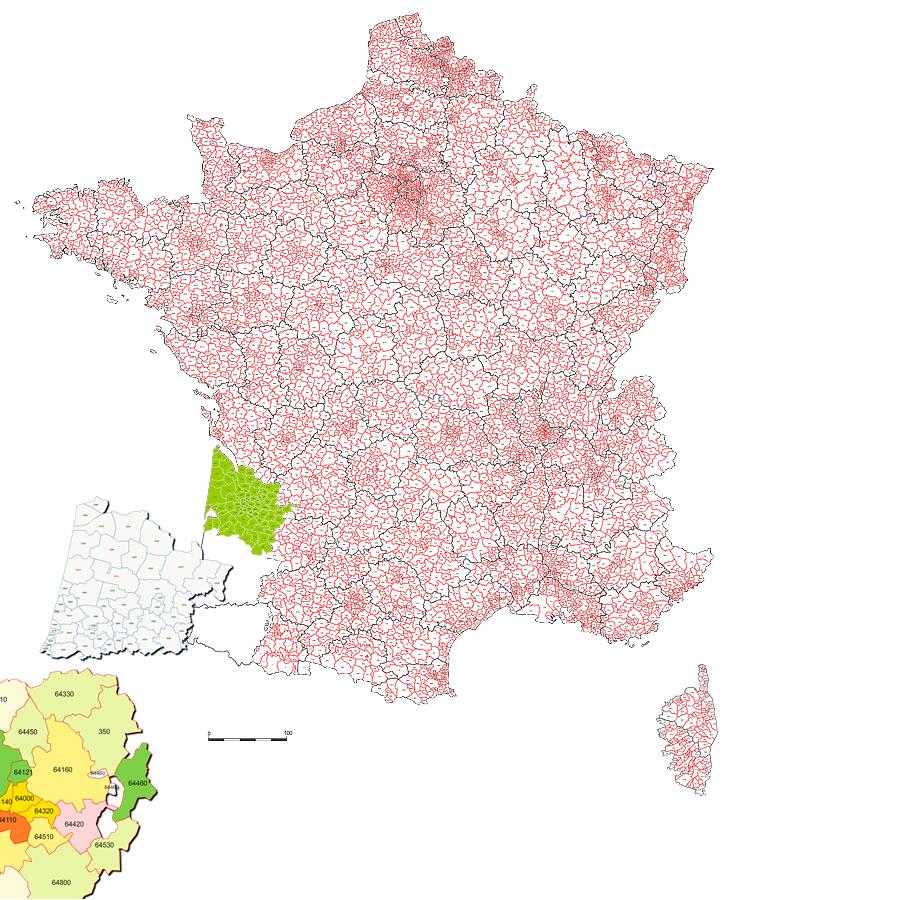 Carte des codes postaux de France
