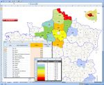 Carte Excel des d�partements de France avec coloration selon donn�es