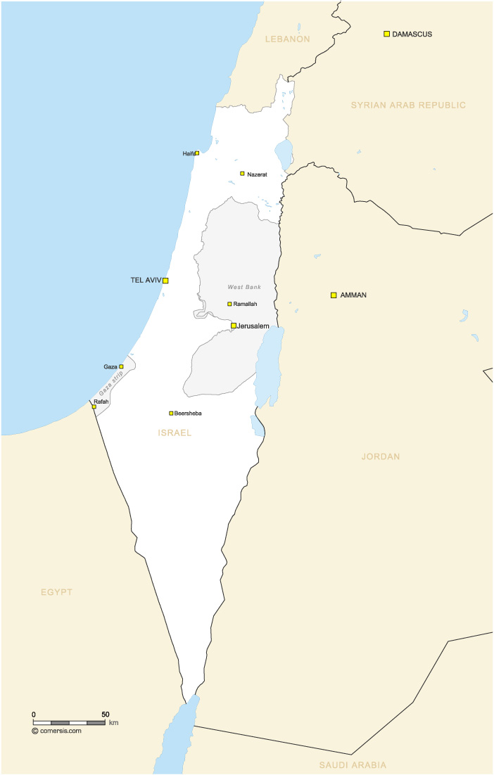 Map of Palestinian, Egyptian, and Syrian lands occupied by Israel in ...