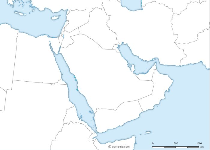 Free vector outline map of MiddleEast – Blank Map of Arab World