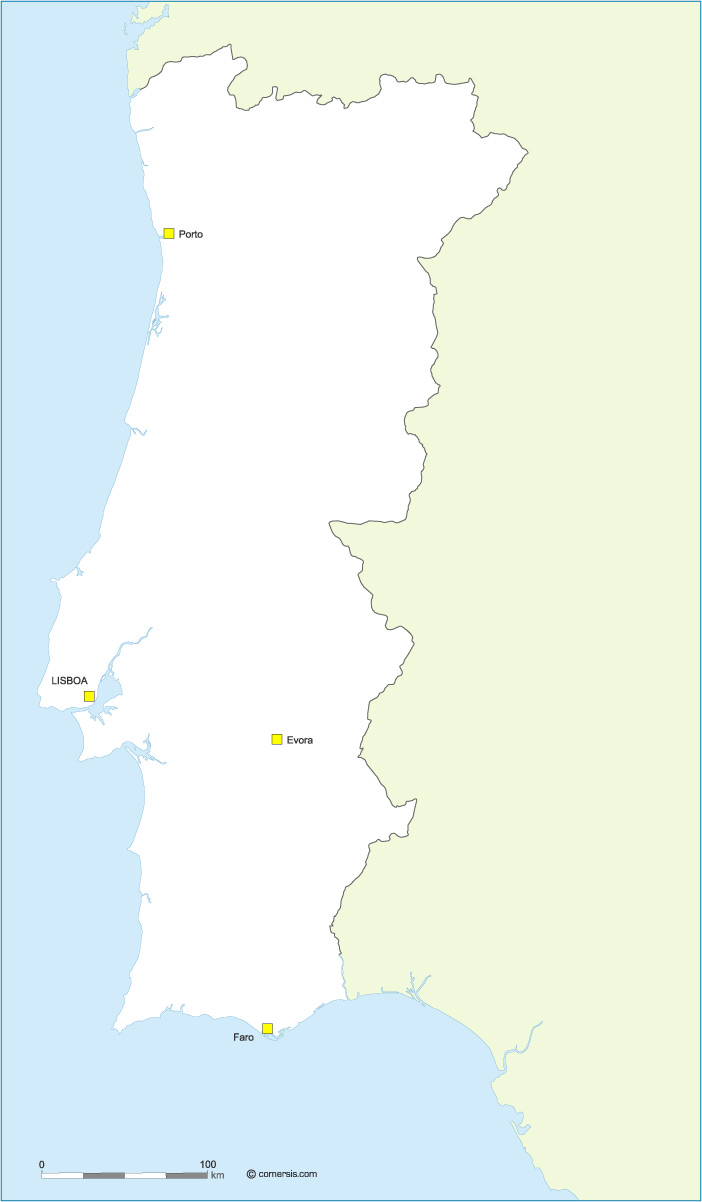 Fond de carte du Portugal vecteur gratuite