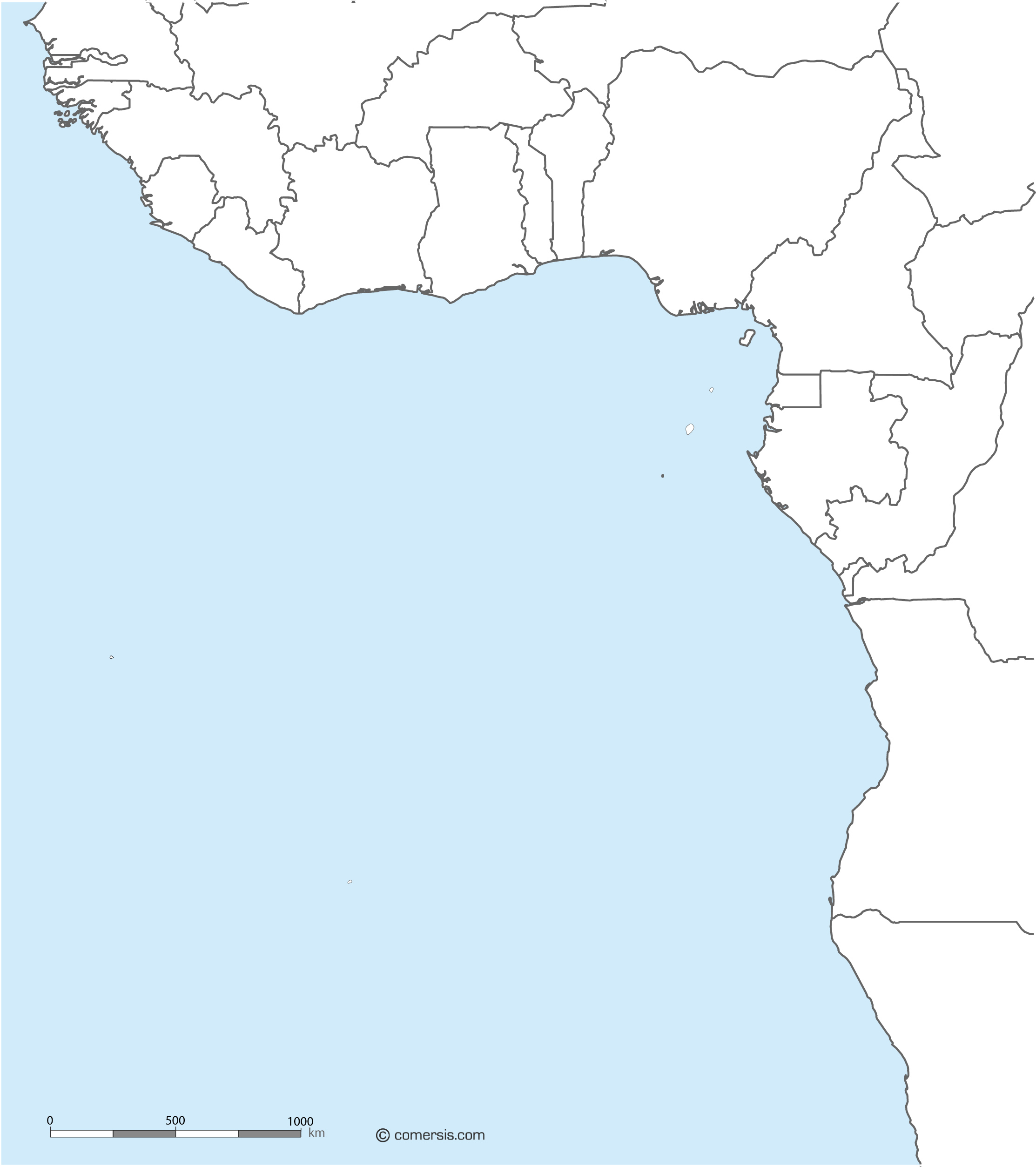 Gulf of Guinea free base map