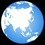 Globe terrestre centré sur l'Asie