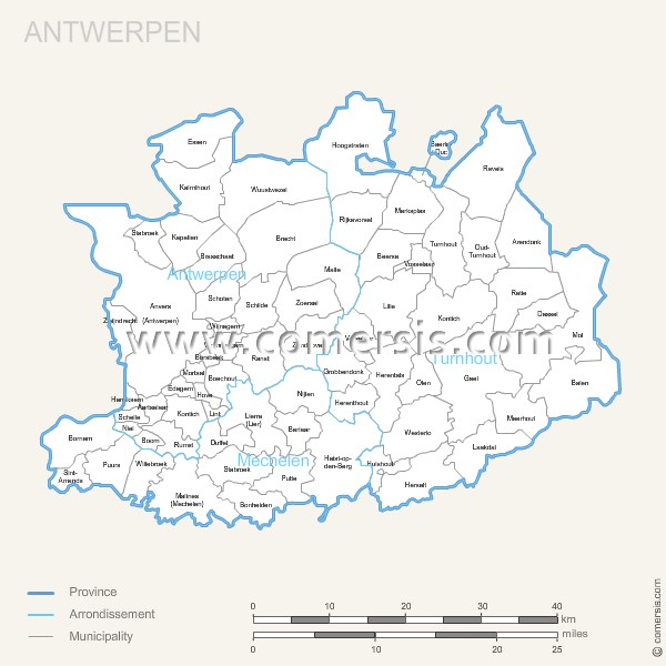 Antwerpen municipalities map with name.