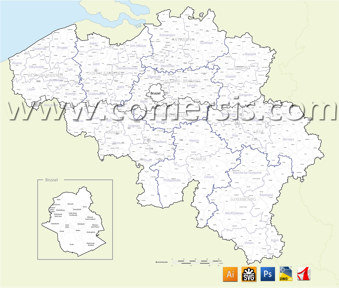 Map of Belgium with municipalities named