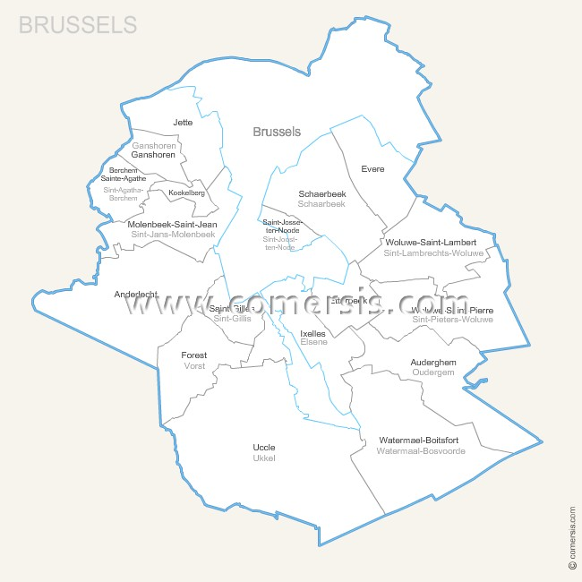 Brussel municipalities map with name.