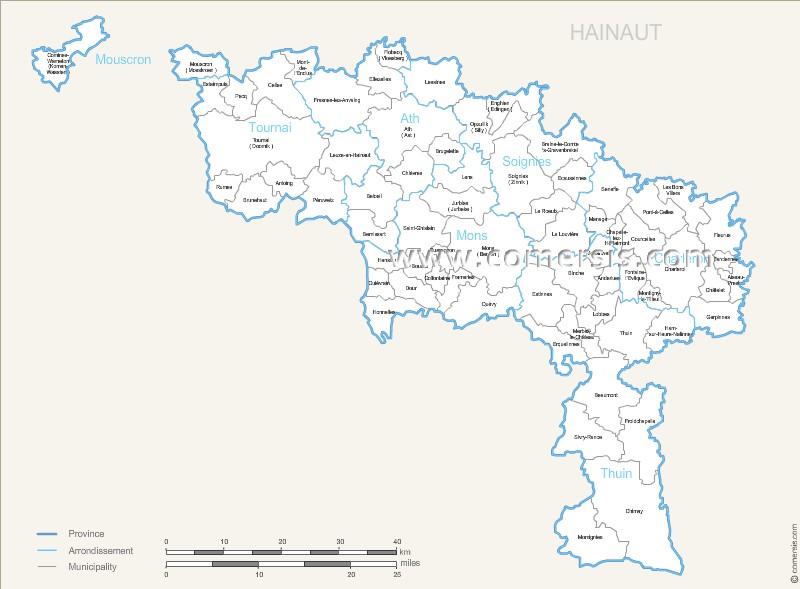 Henegouwen municipalities map with name.
