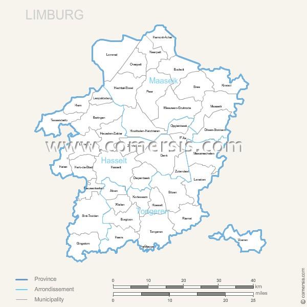 Limburg municipalities map with name.