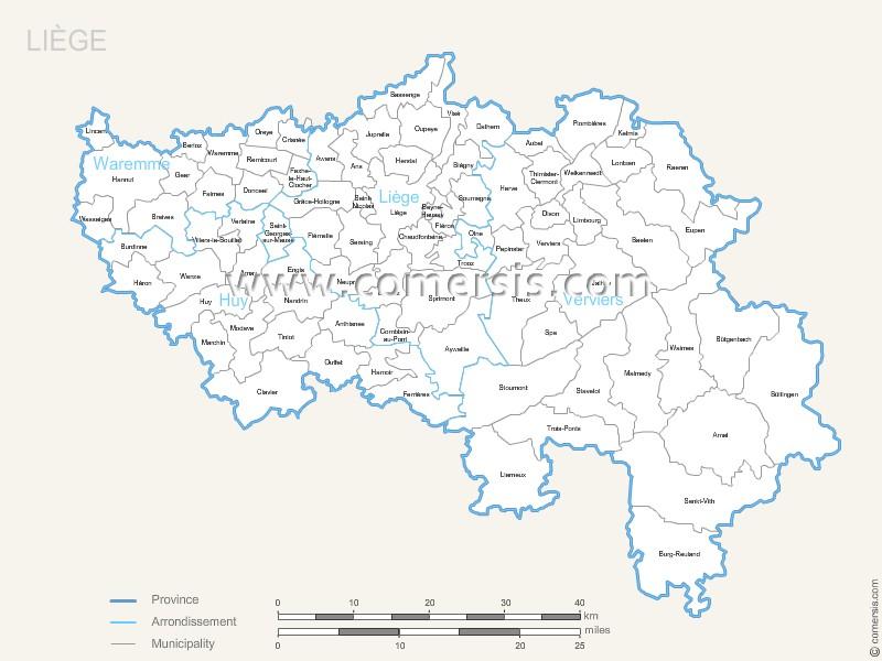 Luik municipalities map with name.