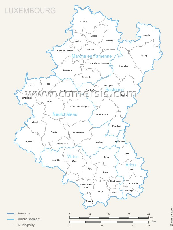 Luxemburg municipalities map with name.