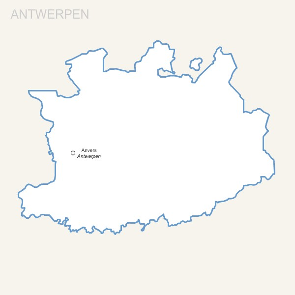 Antwerpen province map with capital.