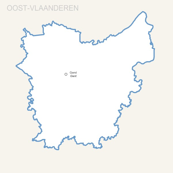 Oost Vlaanderen province map with capital.