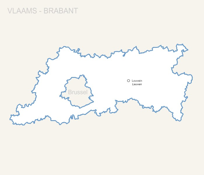 Vlaams-Brabant province map with capital.