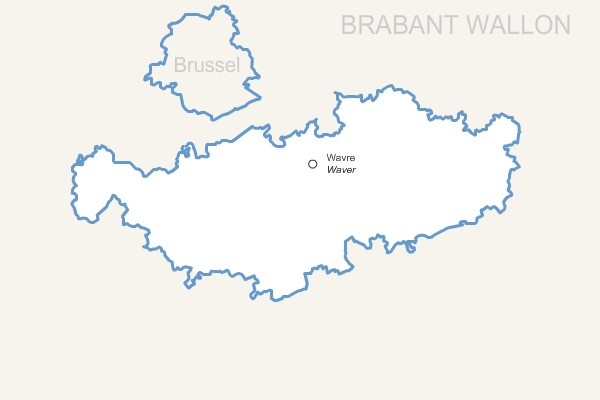 Waals-Brabant province map with capital.