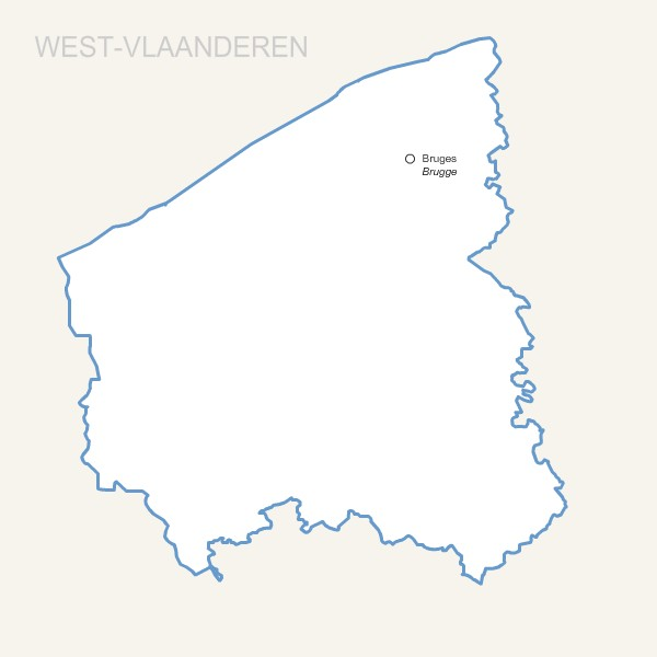 West Vlaanderen province map with capital.