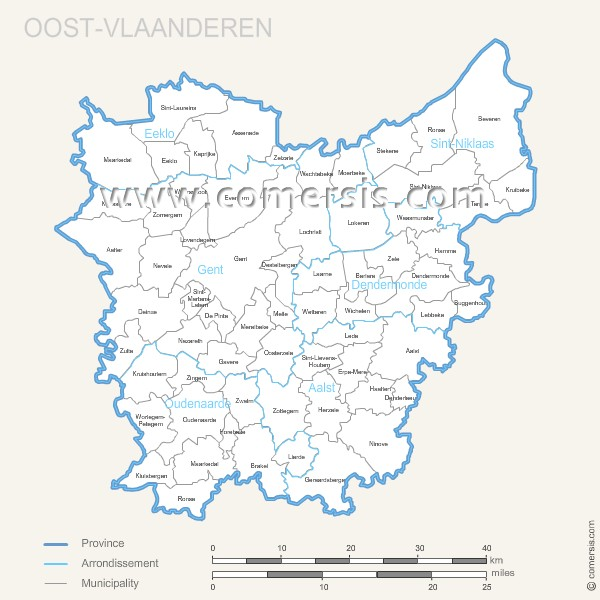 Oost Vlaanderen municipalities map with name.