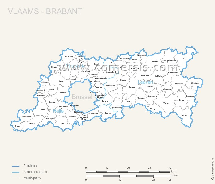 Vlaams-Brabant municipalities map with name.