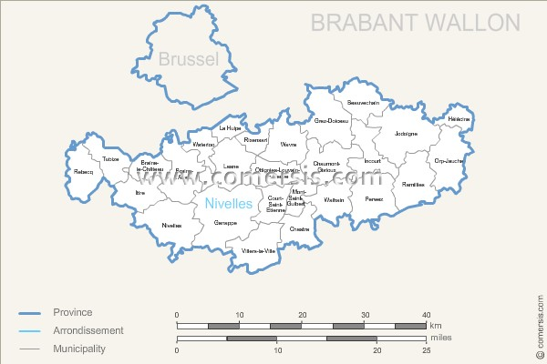 Waals-Brabant municipalities map with name.