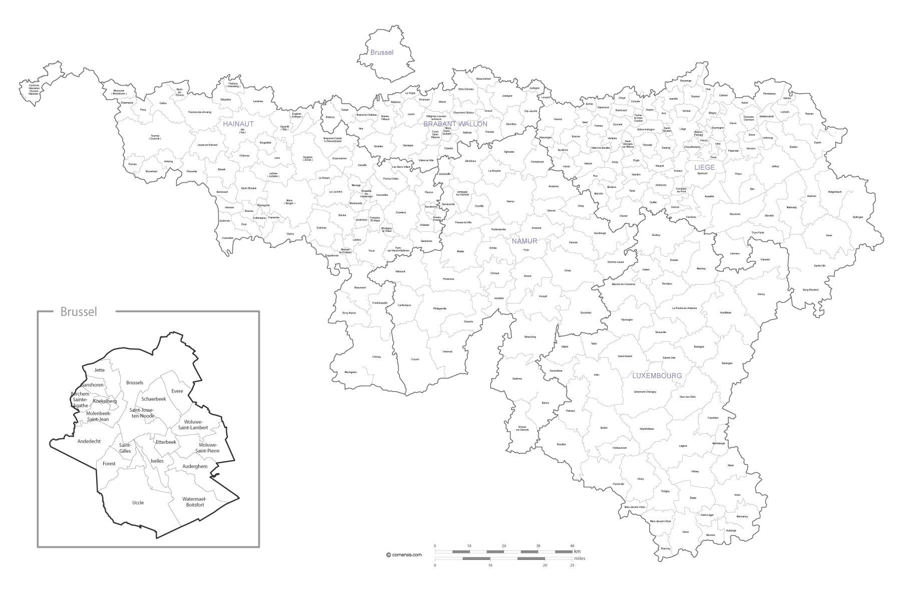 Map of Wallonia municipalities