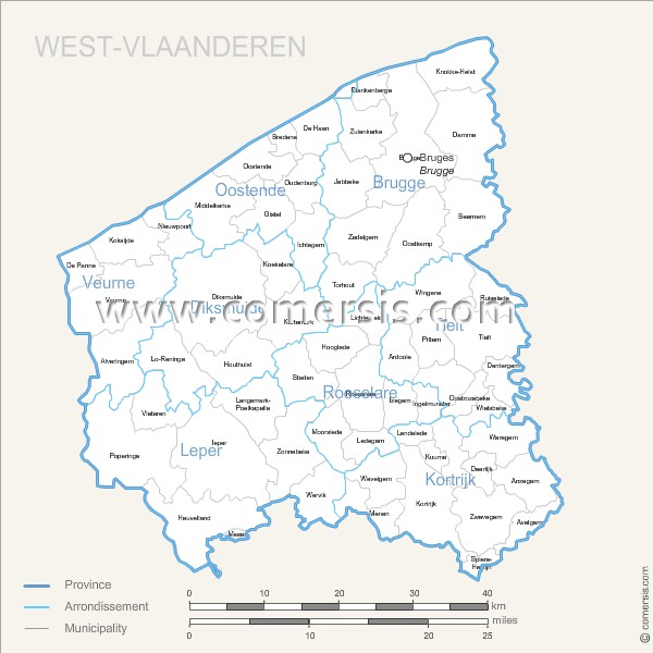 West Vlaanderen municipalities map with name.