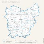 Oost Vlaanderen municipalities map with name.