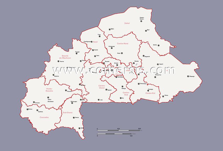 Burkina-Faso regions and maintowns