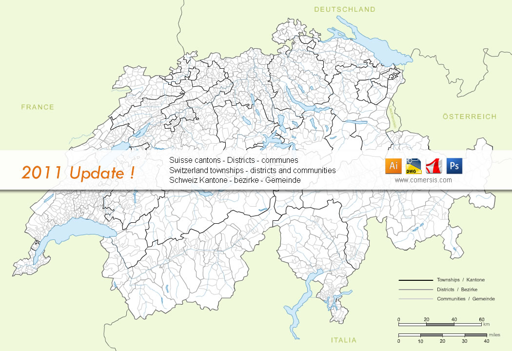 Map of Communities of Switzerland ( vector and raster in layers )