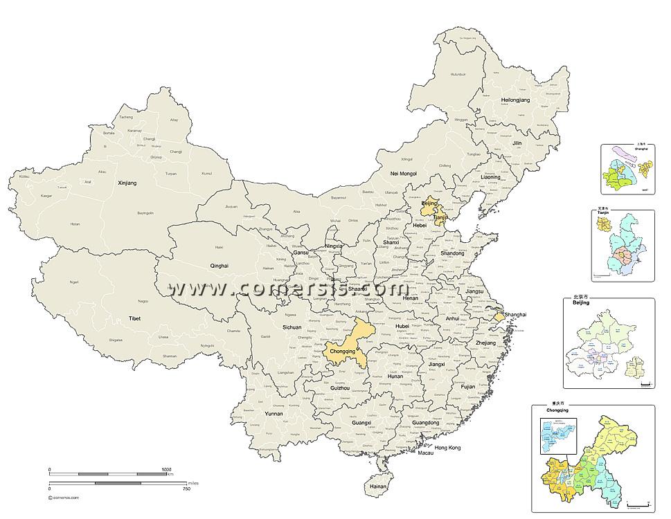 Provinces et prefectures de Chine