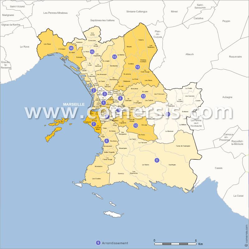 Plan des quartiers de Marseille avec nom