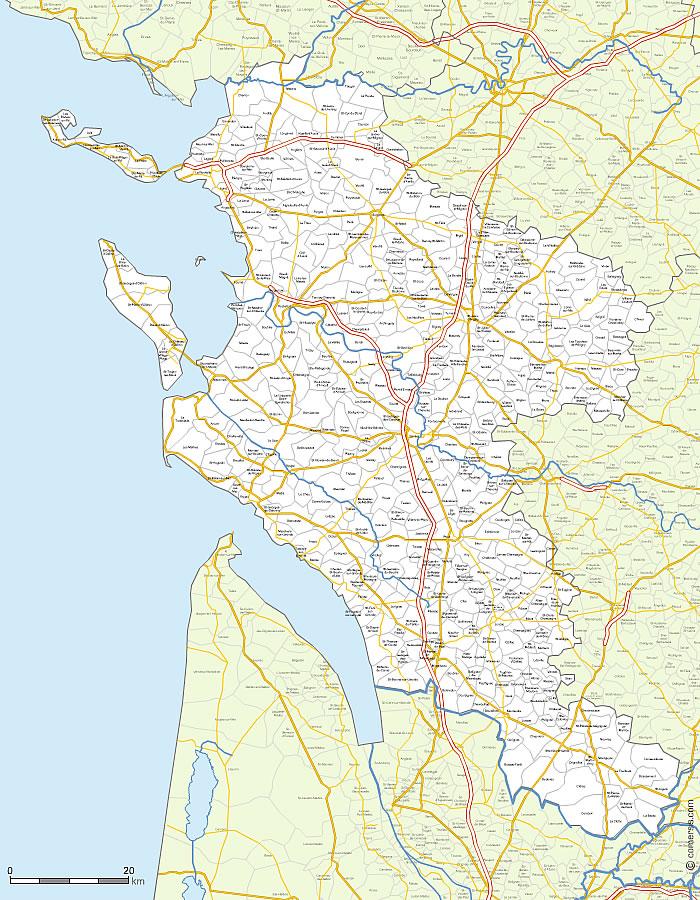 carte charente maritime détaillée Vector map of Charente Maritime municipalities and roads