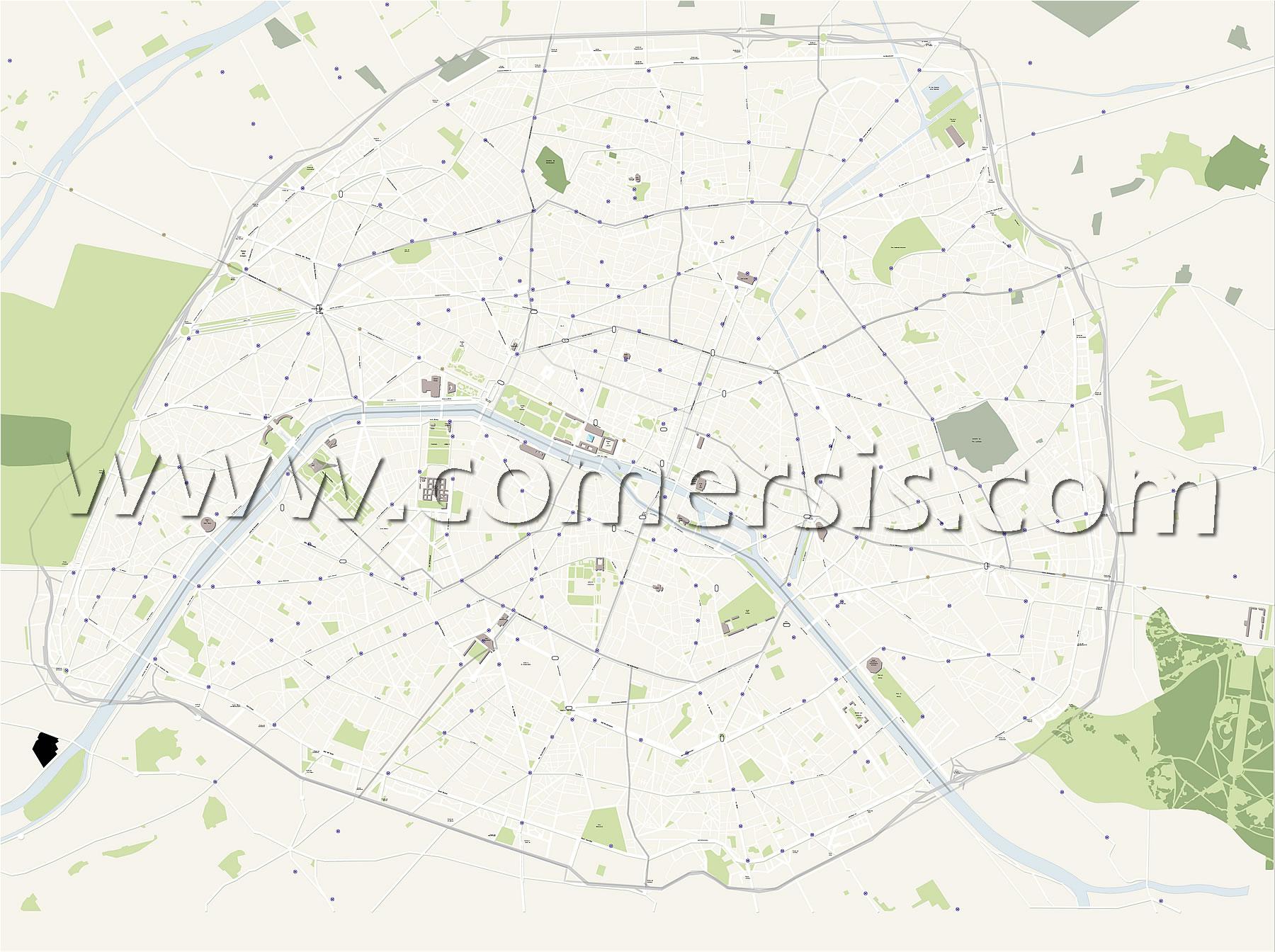 Vector plan of Paris city streets - France