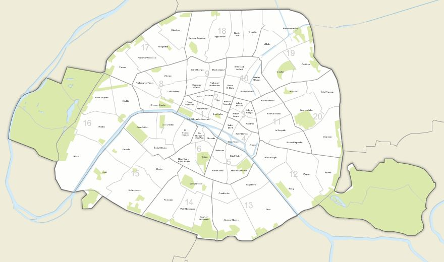 Paris Map District.Vector Map Of Paris Districts And Neighborhoods