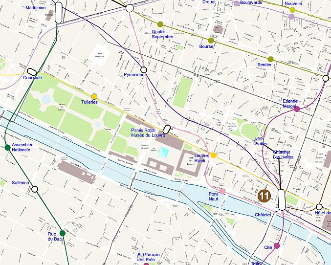 Paris 1st arrondissement map plan