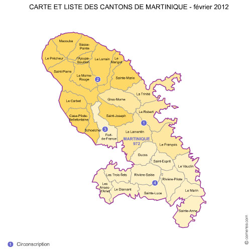 Martinique counties map with names ( France ) for Word and Excel.