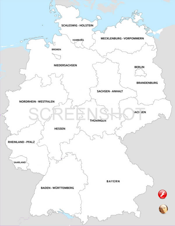 vector map of germany divided by states lnder