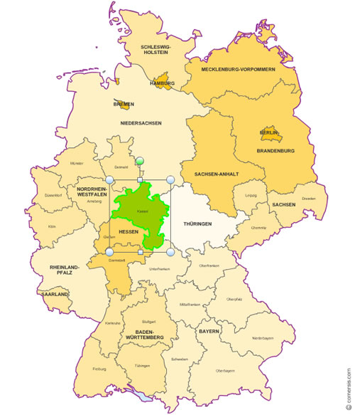 Excel and Word editable map of Germany districts
