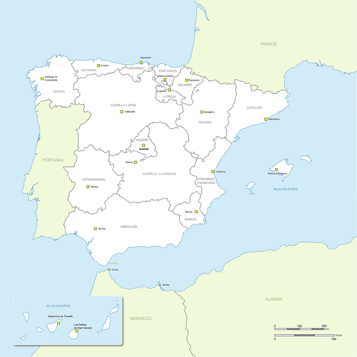 Blank Map Of Spain Regions.Hi Resolution Vector Map Of Spain Regions With Names