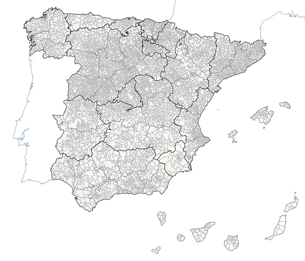 Municipalities and provinces vector map of Spain