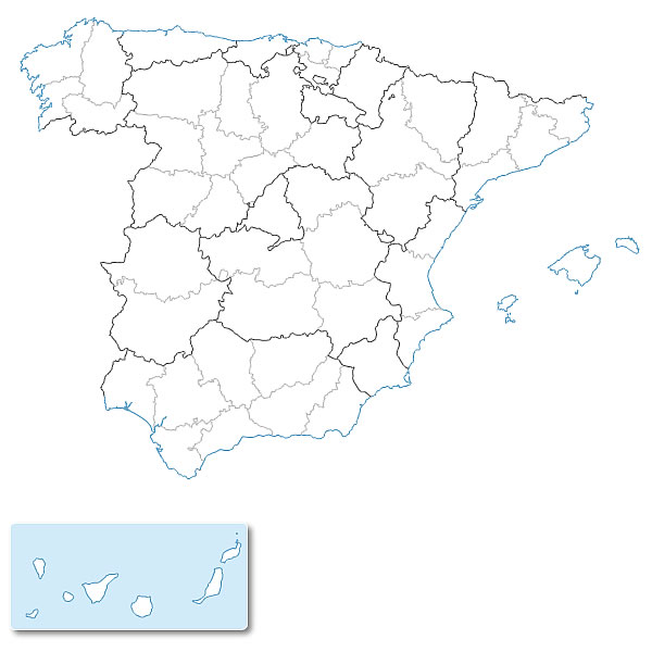 Free vector map of Spain provinces