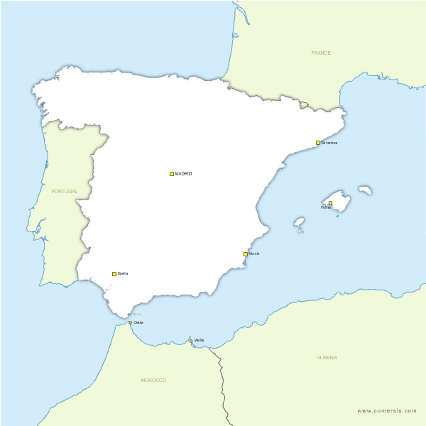 Map Of Spain Portugal And France.Free Vector Blank Map Of Spain