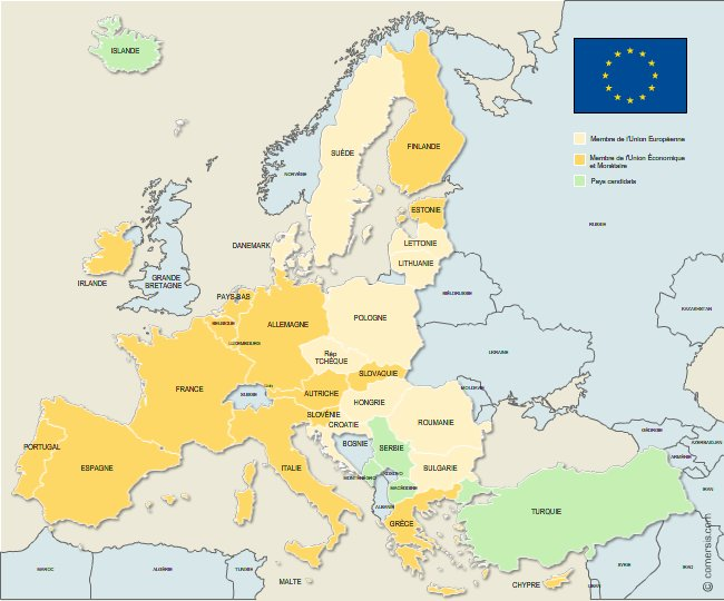 European Union members map